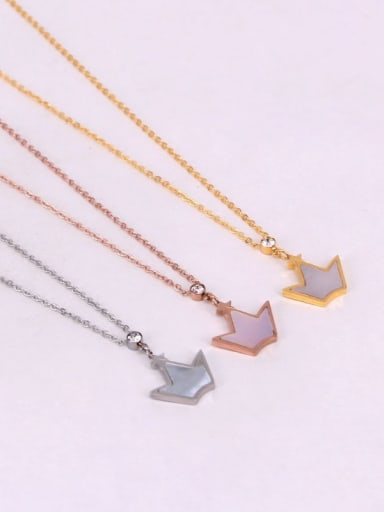 Titanium Shell Crown Minimalist pendant Necklace