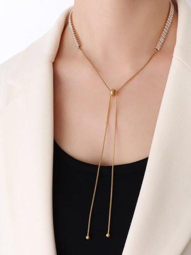 P190 gold necklace 68cm Titanium Steel Cubic Zirconia Vintage Tassel  Braclete and Necklace Set