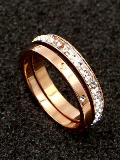 Titanium Cubic Zirconia White Geometric Classic Stackable Ring