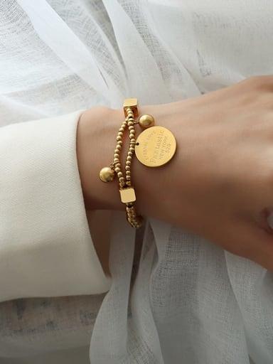 Titanium Steel Geometric Vintage Beaded Bracelet