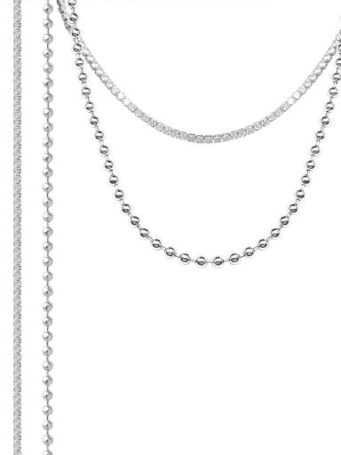 Titanium Steel Cubic Zirconia Geometric Minimalist Multi Strand Necklace