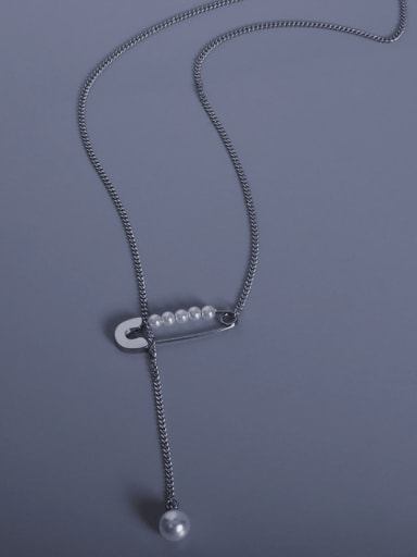 Steel Tassel Necklace 45+4cm Titanium 316L Stainless Steel Geometric Vintage Lariat Necklace with e-coated waterproof