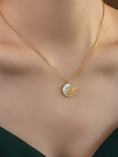 gold  40+5cm Titanium 316L Stainless Steel Shell Geometric Vintage Necklace with e-coated waterproof