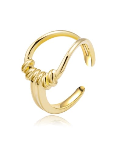 Gold Wide version twisted hollow three-dimensional smooth stainless steel ring