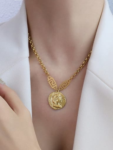 P480 gold necklace 40 +5cm Titanium 316L Stainless Steel Vintage Irregular  Braclete and Necklace Set with e-coated waterproof
