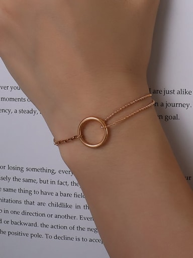 E067 rose gold 15 cm Titanium 316L Stainless Steel Geometric Minimalist Strand Bracelet with e-coated waterproof
