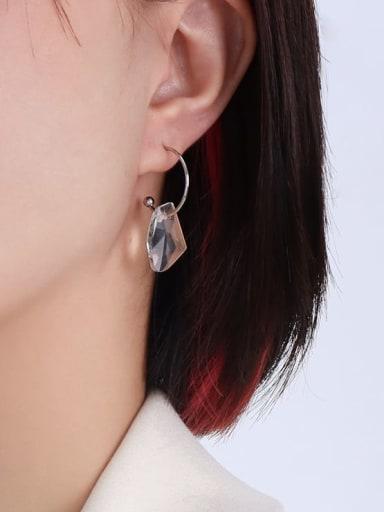 F502 Steel Titanium Steel Glass Stone Geometric Hip Hop Huggie Earring