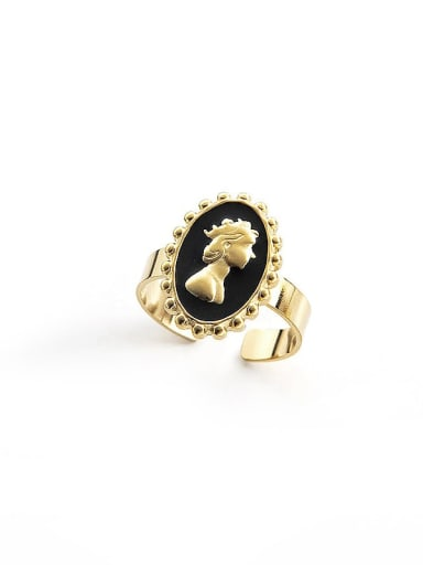 Black Head simple retro oil dripping stainless steel ring