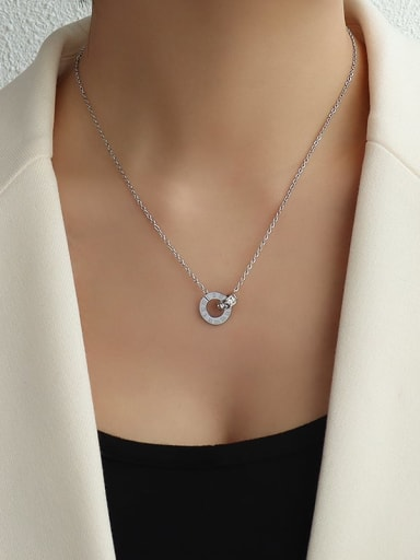 Steel 40+5cm Titanium 316L Stainless Steel Minimalist Geometric Rhinestone Earring and Necklace Set with e-coated waterproof