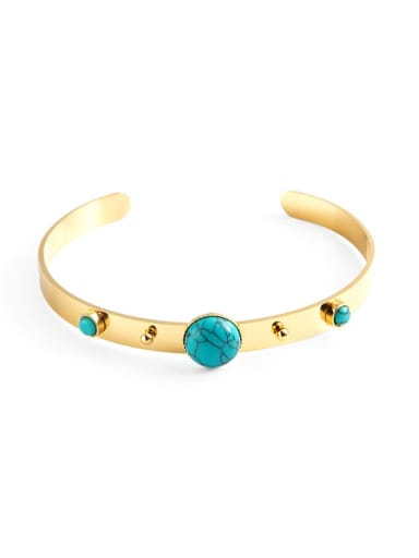 gold Stainless steel Turquoise Green Geometric Vintage Cuff Bangle