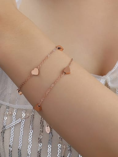 E054 rose gold Titanium 316L Stainless Steel Heart Minimalist Strand Bracelet with e-coated waterproof