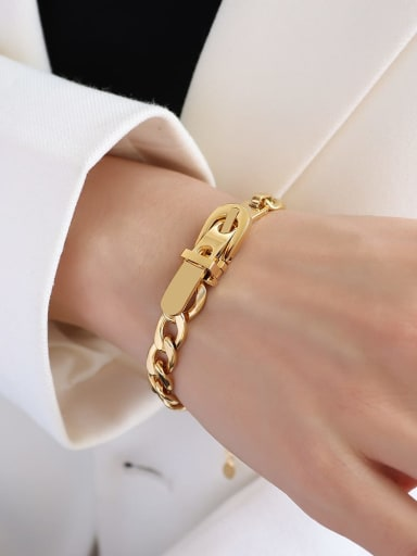 E257 gold color  Bracelet 17+ 5cm Titanium 316L Stainless Steel Vintage Geometric  Braclete and Necklace Set with e-coated waterproof