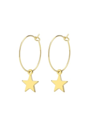Five pointed star gold pair Titanium Steel Star Minimalist  Heart Shaped Huggie Earring