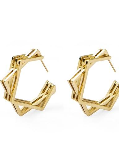 Net red personality irregular gap geometric Earrings