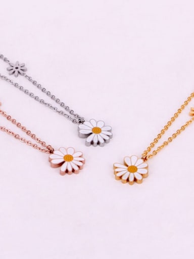 Titanium Enamel Flower Minimalist Necklace
