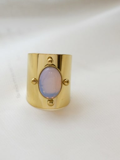 Purple Natural stone vintage golden titanium steel ring