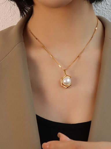 gold necklace 40+5cm Stainless steel Imitation Pearl  Vintage Geometric Earring and Necklace Set with e-coated waterproof