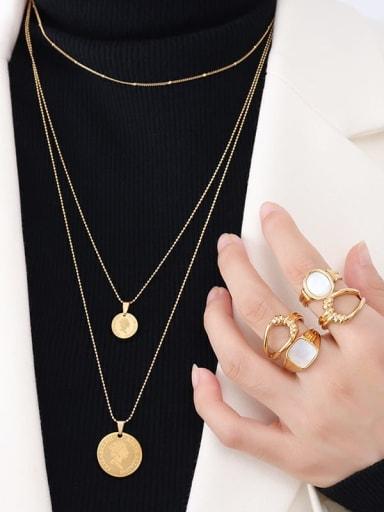 P508 gold three layer Necklace Titanium Steel Geometric Hip Hop Multi Strand Necklace