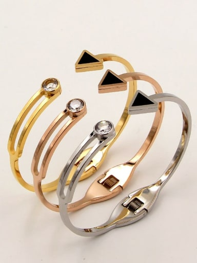 Titanium Cubic Zirconia Triangle Minimalist Cuff Bangle