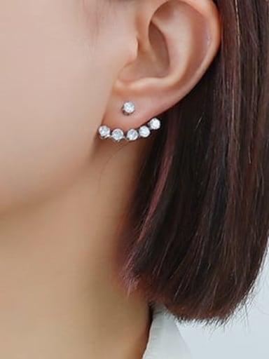 F550 steel zircon inlaid Earrings Titanium Steel Rhinestone Geometric Minimalist Stud Earring