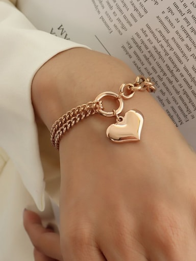 Rose Gold Titanium 316L Stainless Steel Heart Vintage Strand Bracelet with e-coated waterproof