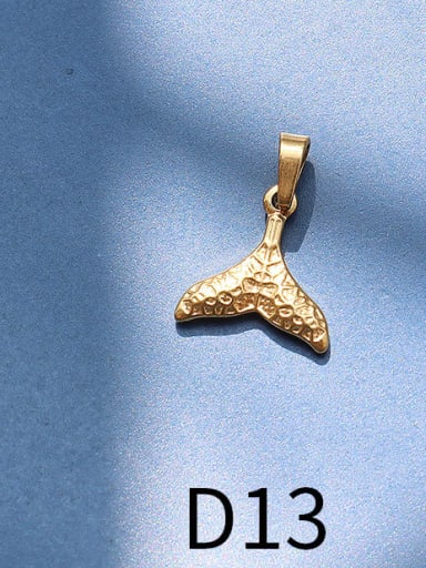 D13 Gold Print fishtail Titanium Steel  Moon Star Vintage Pendant