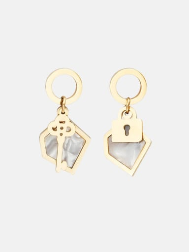 White Key lock inlaid shell stainless steel earrings