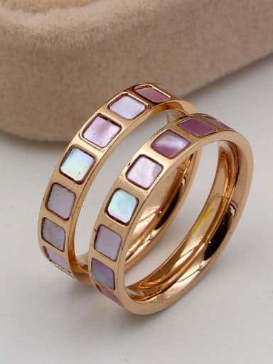 Titanium Shell Square Dainty Band Ring