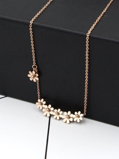 Titanium  Flower Rosary Dainty Necklace