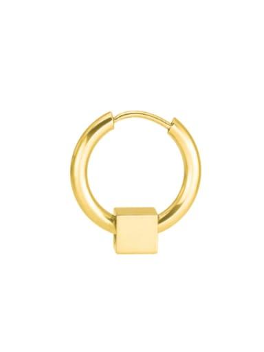 Gold 8mm +steel square bead Titanium Steel Geometric Minimalist Single Earring(only one)