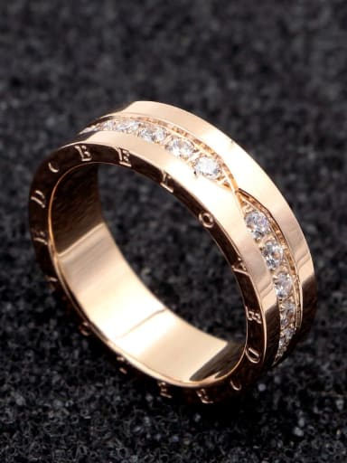 Titanium Letter  Cubic Zirconia Dainty Band Ring
