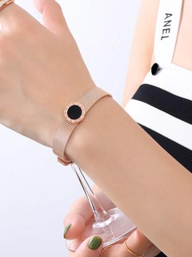 E071 rose Roman Bracelet 20cm Titanium Steel Acrylic Geometric Vintage Bracelet