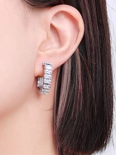 F543 steel Zircon Earrings Titanium Steel Cubic Zirconia Geometric Hip Hop Huggie Earring