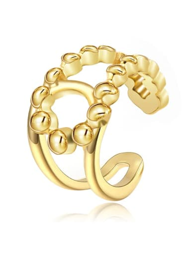 Double C fashion wide hollow smooth stainless steel ring