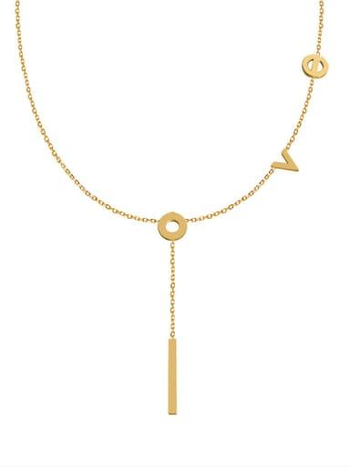 Titanium 316L Stainless Steel Letter Tassel Minimalist Tassel Necklace with e-coated waterproof