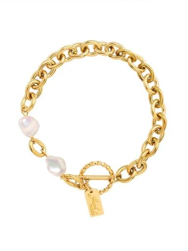 Titanium 316L Stainless Steel Freshwater Pearl Geometric Vintage Link Bracelet with e-coated waterproof