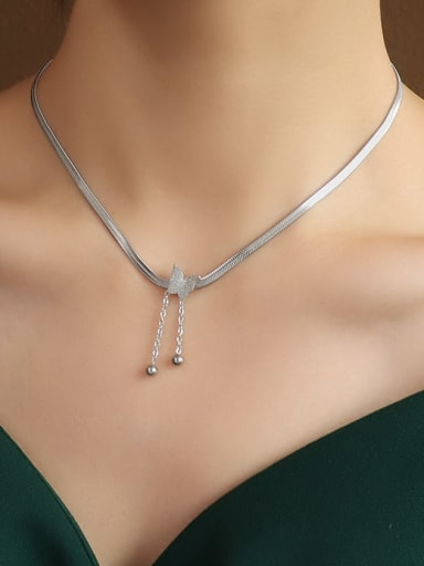 steel 40 + 5cm Titanium 316L Stainless Steel Bead Butterfly Vintage Tassel Necklace with e-coated waterproof