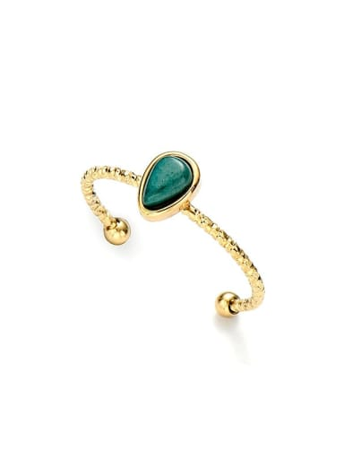 Green Water drop natural stone simple open titanium steel ring