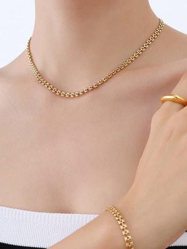 P1131 gold necklace 40 +5cm Titanium Steel Vintage Irregular   Bracelet and Necklace Set