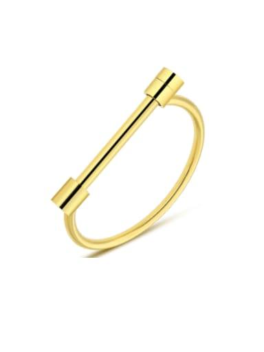 gold Titanium Steel Geometric Minimalist Band Bangle