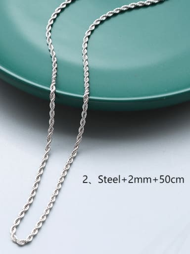 ?steel+2mm+50cm Titanium 316L Stainless Steel Minimalist  Chain with e-coated waterproof