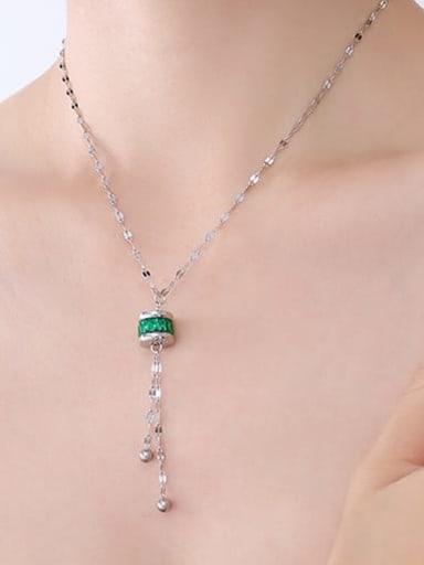P687 steel Emerald Necklace Titanium Steel Cubic Zirconia Geometric Minimalist Tassel Necklace