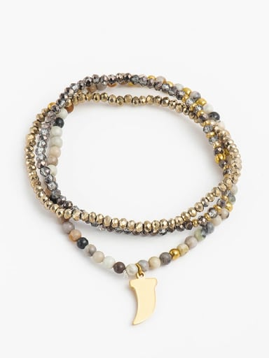 Stainless steel    Retro wolf's fang Pendant Beaded Stretch Bracelet