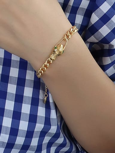 E248 gold snake Zircon Bracelet 15+ 5cm Titanium 316L Stainless Steel Vintage Hollow Geometric Chain  Braclete and Necklace Set with e-coated waterproof