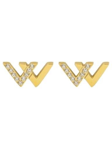 Gold Earrings Stainless steel Cubic Zirconia Letter Minimalist Stud Earring