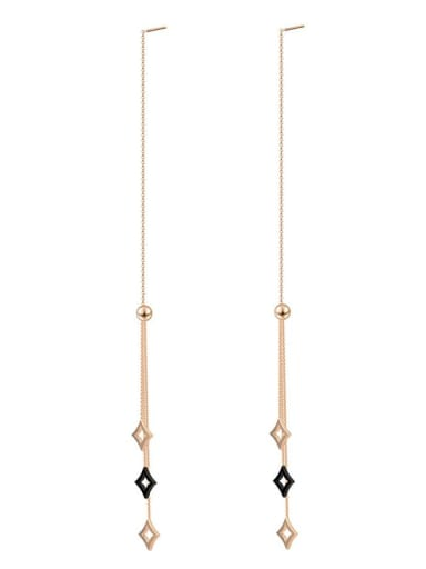 Long tassel color preserving 14K titanium steel earrings