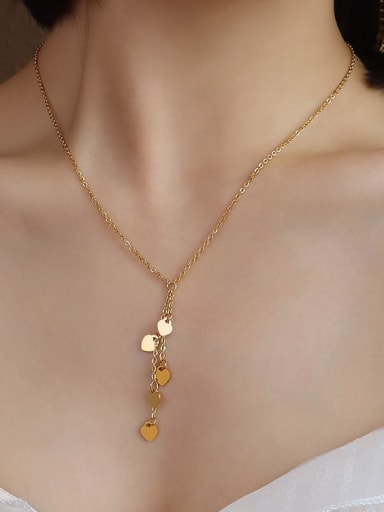 P014 gold 40+5cm Titanium 316L Stainless Steel heart Vintage Tassel Necklace with e-coated waterproof