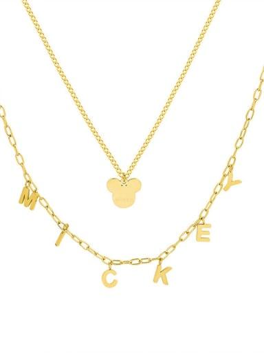 Titanium Steel Letter Minimalist Multi Strand Necklace
