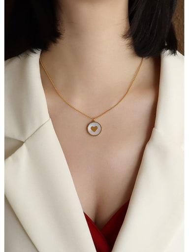 Gold love  40+5cm Titanium Steel Shell Round Minimalist Necklace