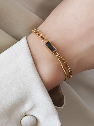 E167 Gold Bracelet Black zircon 15+ 5cm Titanium Steel Minimalist Geometric  Glass Stone Braclete and Necklace Set